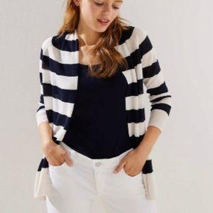 LOFT Striped Open Cardigan, sz M